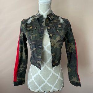 Camo red detail distressed crop jean jacket